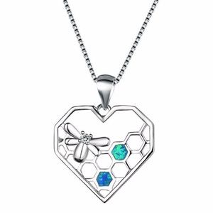 Heart Shaped/Bee Charm Pendant Necklace Fire Opal